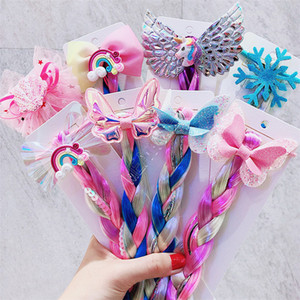 Çocuklar Kızlar Renkli Örgü Peruk Saç Bandı Halkalar Unicorn Gökkuşağı payetli Glitter Örgü Peruk at kuyruğu Tutucu Çember Prenses Uzun Kıllar D82705