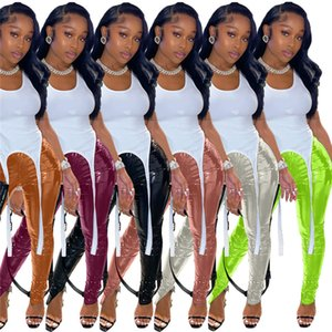 PU femmes LEGGINGS Pantalons Fashion Fashion Elastic Taille Skinny Pantalons longs Pantalons Split Pants Nouveaux femmes Designer Vêtements