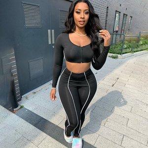 Fashion Autumn Black Women Sportswear Suit Zipper Long Sleeve Crop Tops + Pants Two piece Set Jogging Sport Suit Leisure Tracksuit