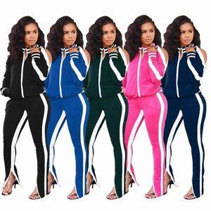 Donna Autunno Inverno Set tuta completa manica a righe Giacche vestito di pantaloni a due pezzi abiti Sportwear Tute