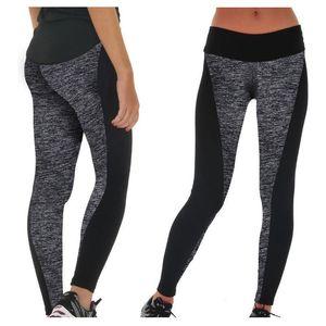 Dupla face Sports Preto Yoga Wear Ab e cinza costura Elevador Hip Correndo Workout Leggings Elastic Plus Size Yoga Pant