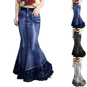 Frauen Fashion Sexy Große Fishtail Mop-Denim-Rock Slim Fit Hip-Denim-Rock Jean Trompete Mermaid Stacked elegante Röcke