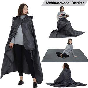 Outdoor Waterproof Camping Mat Raincoat 2 in 1 Rainproof Windproof Foldable Picnic mat Warm Rainwear with Hood Camping blanket
