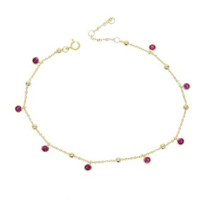 2018 Top quality gold color delicate adjust 21 with 5cm tiny red cz charm Anklets link chain for women cute girl fashion jewelry