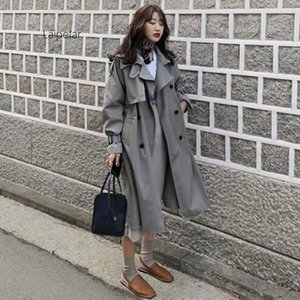 5 Renk Sashes Oversize Çift Breasted Vintage Cloak Paltolar Windbreaker ile Casual Gevşek Pamuk Hendek Coat Bahar