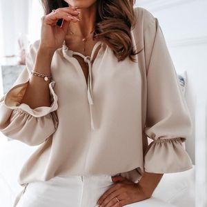 Muyogrt Profundo en V cuello con volantes blusa camisas mujeres 2020 otoño sexy sólido sólido tops damas nuevas blusas de oficina de manga larga casual