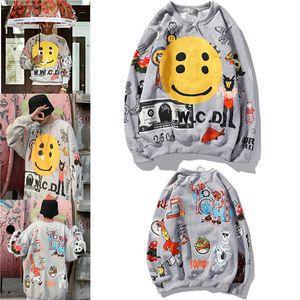 2020 nuevos mens suéter de marca de moda de Europa y América las mujeres otoño grandpa estudiantiles cara sonriente de espuma suelta más la chaqueta de terciopelo