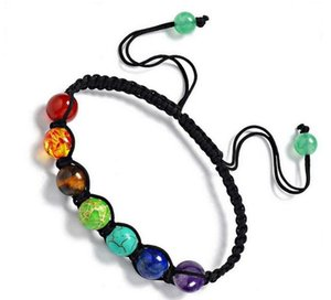 8mm Chakra Beads Bracelets Adjustable Braided Rope Healing Turquoise Bracelet for Men Women Reiki Prayer Stones Arm Cuff Epacket free