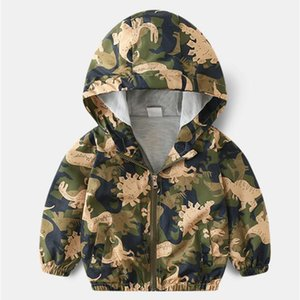 소년 소녀들을위한 BINIDUCKLING 패션 봄 가을 아기 소년 아동 자켓 의류 공룡 만화 후드 방수 착실히 보내다 코트