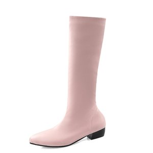 Large Size 48 Fashion Knee High Boots Women Solid Soft PU Leather Winter Warm Boot Low Heels Women Long Boots Yellow Pink Shoes