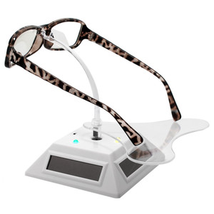Solar Rotating Display Stand with 7 Colored Lights Can Be Used for Glasses Jewelry, Display Shooting White
