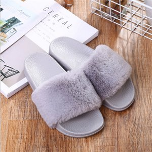 Slippers Womens Zapatos Mujer Ladies Slip On Sliders Fluffy Faux Fur Flat New Fashion Female Casual Slipper Flip Flop Sandal 200924