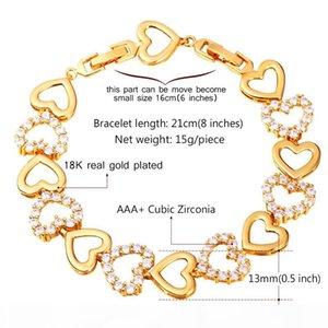 Women's Cubic Zirconia Bracelet Platinum 18K Gold Plated Fashion Jewelry Romantic Lover Gift Heart Charm Bracelet