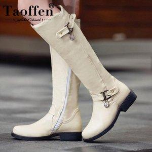TAOFFEN Size 33-44 Women's Winter Boots Heels Metal Buckle Fur Warm Winter Women Shoes Zipper Knee Boots Fashion Long