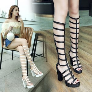 CHIMIZHAI Summer Women Boots Gladiator Shoes Platform Woman Knee High Boots Sexy High Heels Sandals Lady Shoes Zip MY140