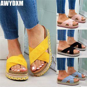 Platform Slippers Womens 2020 Summer Open Toe Cross Belt Flat Shoes Women Outdoor Beach Slides Comfort Female Slipper Plus Size White k5lD#