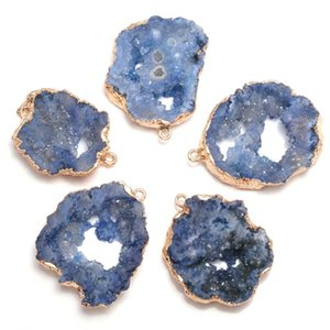 Natural Stone Blue Crystal Cluster Pendants Irregular Shape Exquisite Charm For jewelry making DIY necklace bracelet accessories