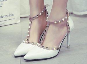 Aike Asia nuova delle donne pompe sexy di estate Rivetti Moda a punta le dita dei piedi da sposa Alta Parte Scarpe con tacco e sandali donna
