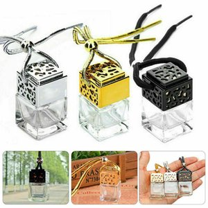 Cube Hollow Car Perfume Bottle Ornament Hanging Air Freshener For Essential Oils Diffuser Fragrance Empty Glass Bottle Pendant DHF1242