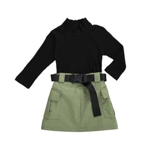 ZWY435 Kids Baby Girls Fashion 3Pcs Outfit Set Long Sleeve Half Turtleneck Top Ribbed Solid Shirt + Work Skirt+Belt Set X0923