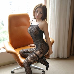 Lin Linting leopar baskı yeni tek parça ipek çorap seksi oyuk-out Sling tüm vücut siyah seksi net Sling iç çamaşırı İpek çorap underw