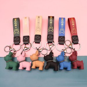 Bulldog Keychain PU Leather Dog Keychains for Women Bag Pendant Jewelry Trinket Men's Car Key Ring Key Chain