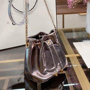 Натуральная кожа сумка цепи ковша сумка Drawstring сумка Мода масло Воск шаблон Новый Стиль Письмо Строка Женщины сумки на ремне Бесплатная доставка