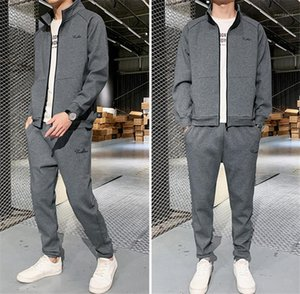 Plus Size Primavera Autunno Slim manica lunga Mens due parti Imposta solido casuale vestiti di colore Sport 2PCS Uomini Tute Designer