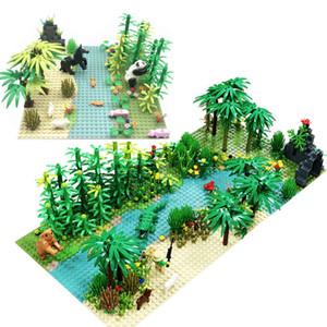 Rain Forest Растения Base Plate City Building Blocks для детей Xmas День рождения Подарки Compatible Кирпичи с Baseplate