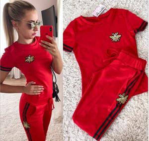 Yeni Yaz Moda Kadınlar Iki Parçalı Giyim Setleri Kısa Kollu Gömlek ve Pantolon Rahat Kıyafetler Eşofmanlar Fitness Spor Suit