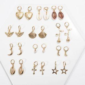 2020 New Cute Simple Seashell Rose Floral Moon Love Heart Cross Drop Dangle Earrings for Women Gold Silver Color Small Earrings
