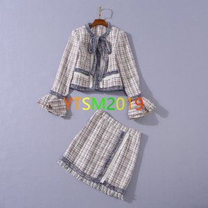 Ladies tweed 2-piece sets Crew neck tassel long sleeve cardigan bow jackets and short skirt suit