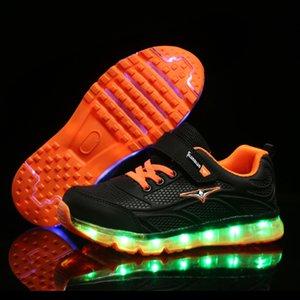 PKSAQ crianças levou tênis para a criança do bebé menina crianças luz brilhante meninos o USB sneakers sapatos de crianças meninas luminosas