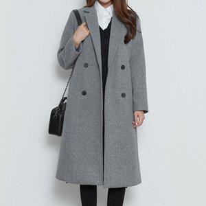 Hiver Keep Warm Coat 2020 Woollen Nouvelle Arrivée Elegant Plus coton double boutonnage Commute Pardessus Femmes épais Droit Outcoat
