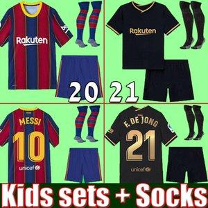 qualità superiore della thailandia BARCELONA FC 20 21 Set bambini con calzini maglie calcio calcio 2020 2021 MESSI SUAREZ GRIEZMANN DEJONG kit kit per ragazzi in casa