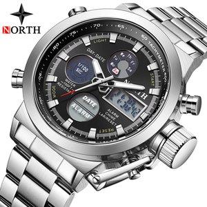 Мужчины Часы Military наручные часы Мужчины светодиодный цифровой дисплей двойной водонепроницаемые спортивные часы Стальной ремень кожаный кварцевые часы Relogio Мужчина для
