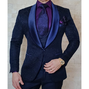 3 piece floral Jacquard Men Suits for Wedding Slim fit Custom Tuxedo with Shawl Lapel Man Fashion Groom Jacket Vest with Pants