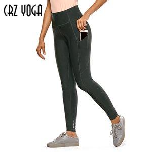 CRZ YOGA Fleece Giacca con ghette delle donne a vita alta invernali pantaloni di yoga con tasche-28 pollici Y200904