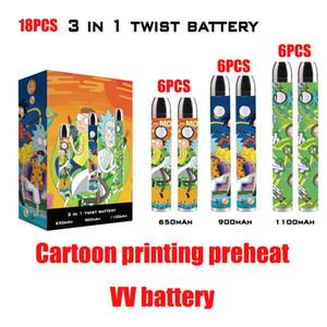 18pcs / Box Cartoon Druckvorwärmung VV Batterie Einstellbare Boden Spinner Vape Stiftwagen Batterie 650/900 / 1100mAh 3in1 Box 6 stücke pro Kapazität
