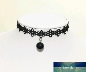 New Korean Lace Neck Necklaces Collar Style Teen Black Velvet Pearl Choker Necklace Collars Bone Goth Rock Torques with pendant