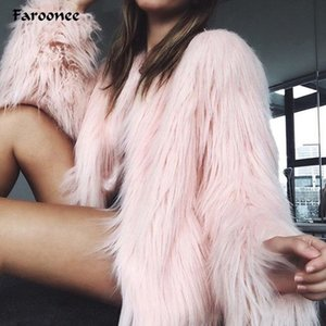 Faroonee Элегантный Furry Шуба Женщины Пушистый Warm с длинным рукавом Женщины Верхняя одежда осень зима пальто куртка Волосатые Шинель 6Q0205