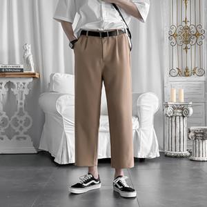 2020 Men's Black khaki Color New Straight Nine-point Casual Pants Trouser Suit Pants Business Design Cotton Formal Trousers
