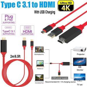 USB 3.1 Tipo C a HDMI 2M convertitore dell'adattatore del cavo Ultra HD 1080P 4k ricarica HDTV Video Cavo per Samsung S10 più S8 X XS max iphone mq50