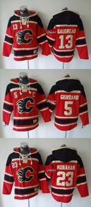 2015 Personalizza uomini all'ingrosso di Calgary Flames # 5 Giordano # 13 # 23 Gaudreau Monahan cappuccio maglie hockey cappuccio Maglie Felpe