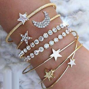 4 Pcs set Women Fashion Bohemian Retro Punk Simple Moon Star Heart Crystal Elastic Bracelets & Bangles Set Party Jewelry