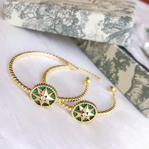 Luxury Rose des Vents S925 Sterling Silver With 18k Gold Plate Green Round Compass Charm Big Round Loop Earrings For Women Jewelry