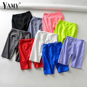Summer neon green high waist shorts women stretchy elastic sweat pink white black biker shorts red vintage ladies short feminino T200828