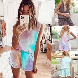 Trajes del tinte del lazo de ropa con ropa de noche femenina del estampado leopardo de los sistemas del verano Bundle pijamas Camisa sin mangas T-shrit Mujer Inicio Ropa LSK906