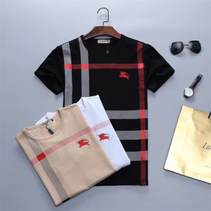 2019 hombres Rampo / Rampo manga corta T-tapa de la camisa raya blanca camisa de la mitad inferior de cuello redondo camiseta de manga PQ221 ropa de moda
