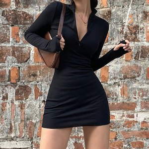 4NyXo VS5AH 2019 Herbst und Winter Kleid Zipper Mode Frauen neue langärmelige dünne Hülle Rundhals Reißverschluss Allgleiches Kleid